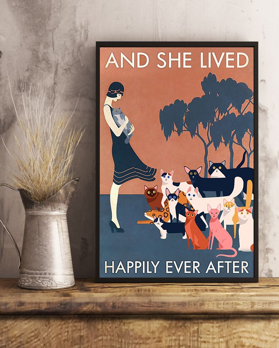 And she lived happily ever after cat poster 1