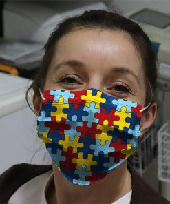 Autism Awareness puzzle piece cloth face mask