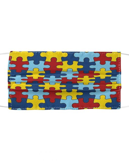 Autism Awareness puzzle piece cloth face mask1