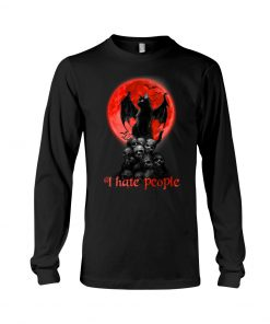 Black Cat And Blood Moon I hate people long sleeved