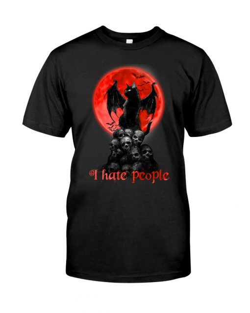 Black Cat And Blood Moon I hate people shirt