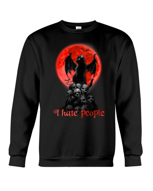Black Cat And Blood Moon I hate people sweatshirt