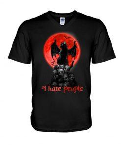 Black Cat And Blood Moon I hate people v-neck