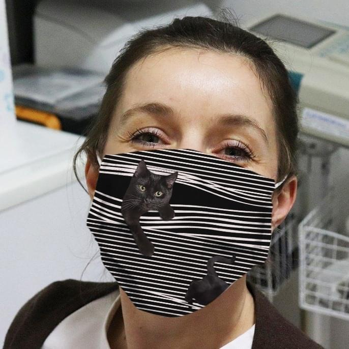 Black Cat Striped 3D face mask