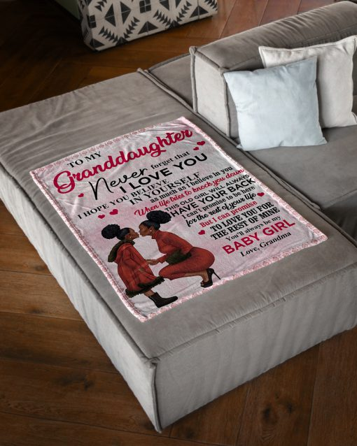 Black women To My Granddaughter Never forget that i love you fleece blanket 2