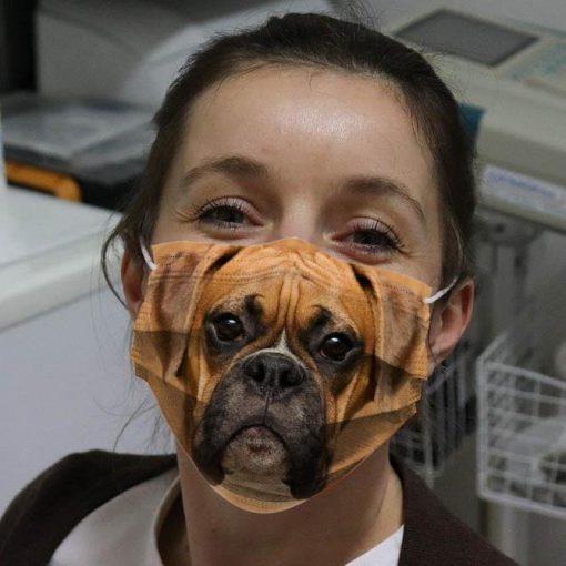 Brown Boxer Dog fabric mask 0