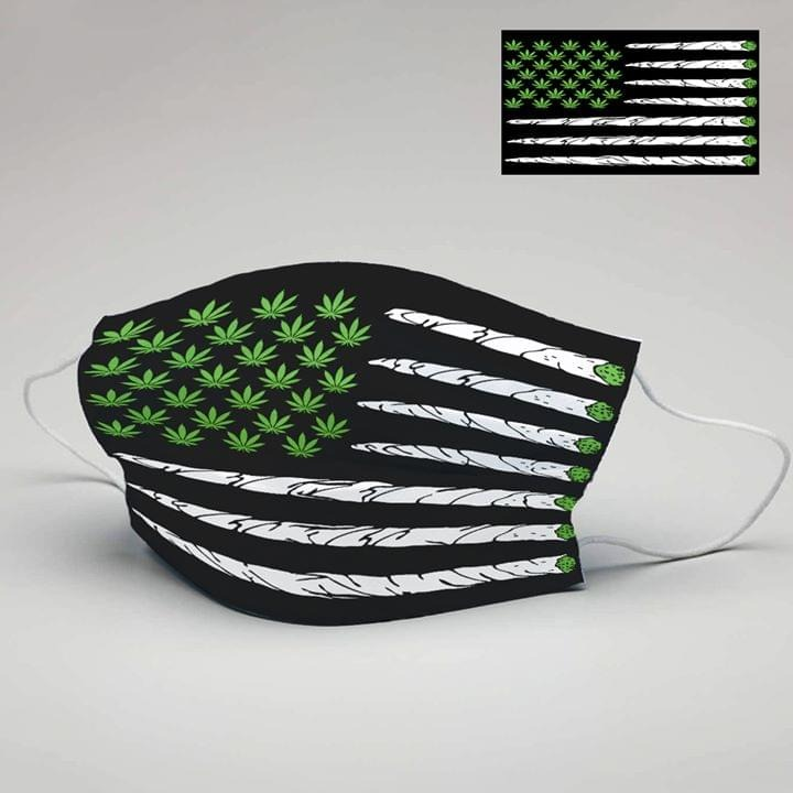 Cannabis Weed American Flag cloth face mask