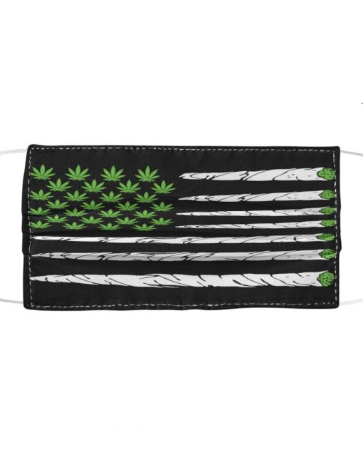 Cannabis Weed American Flag cloth face mask1