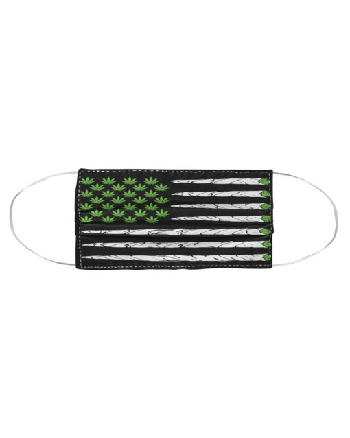 Cannabis Weed American Flag cloth face mask2