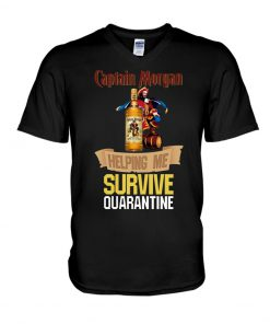 Captain Morgan Helping me survive quarantine v-neck