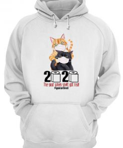 Cat 2020 The Year When Shit Got Real Quarantined hoodie
