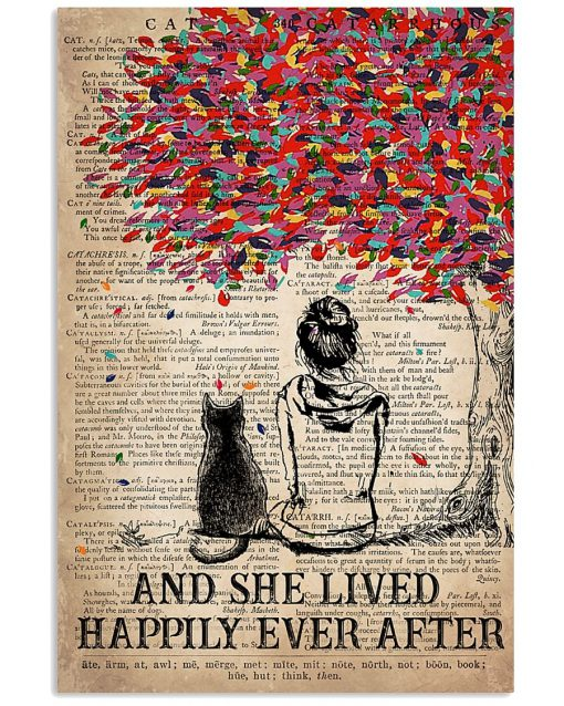 Cat And She Lived Happily Ever After Vintage Book Poster 2