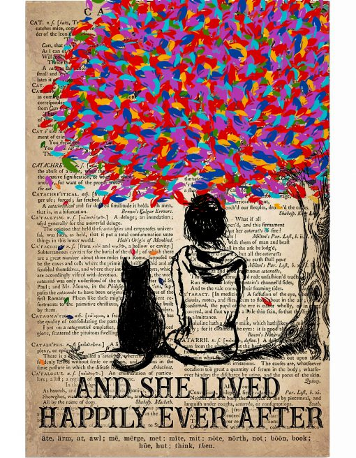 Cat-And-She-Lived-Happily-Ever-After-Vintage-Book-Poster