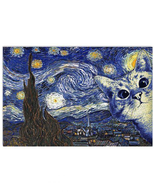 Cat Starry Night Van Gogh poster