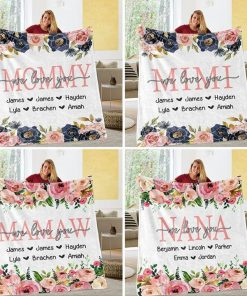 Custom Floral Mother's Day Kids' Names We love you Personalized Fleece Blanket