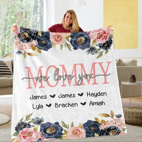 Custom Floral Mother's Day Kids' Names We love you Personalized Fleece Blanket1