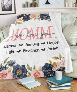 Custom Floral Mother's Day Kids' Names We love you Personalized Fleece Blanket2