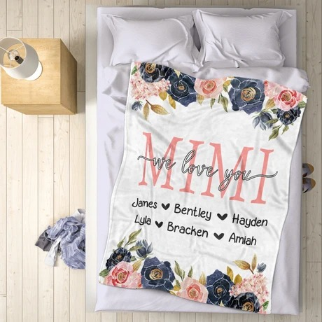 Custom Floral Mother's Day Kids' Names We love you Personalized Fleece Blanket6