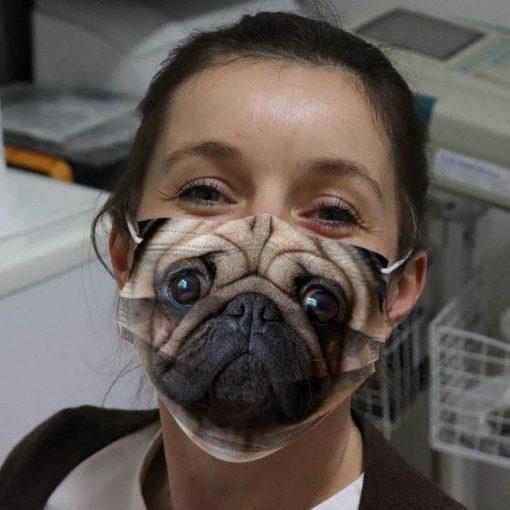 Cute Pug Dog 3D face fabric mask 0