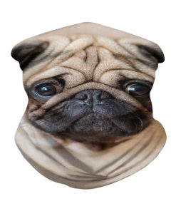 Cute Pug Dog 3D face neck gaiter