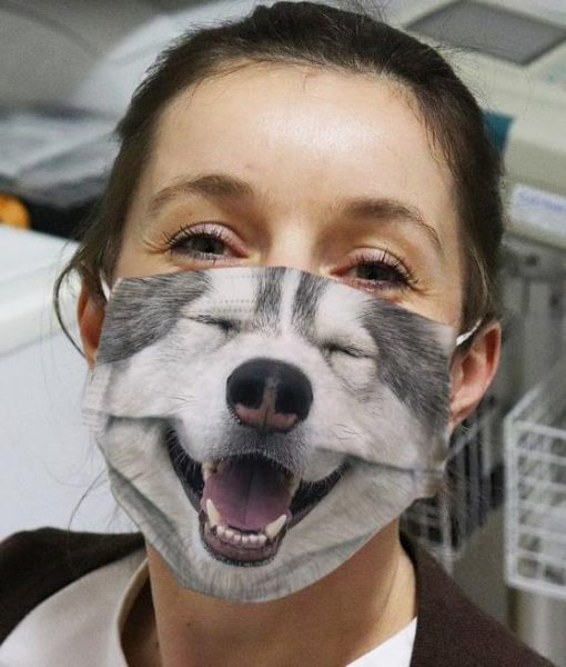 Cute Smiling Alaskan Malamute 3D cloth face mask
