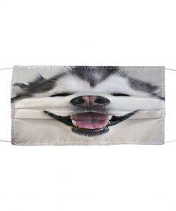 Cute Smiling Alaskan Malamute 3D cloth face mask1