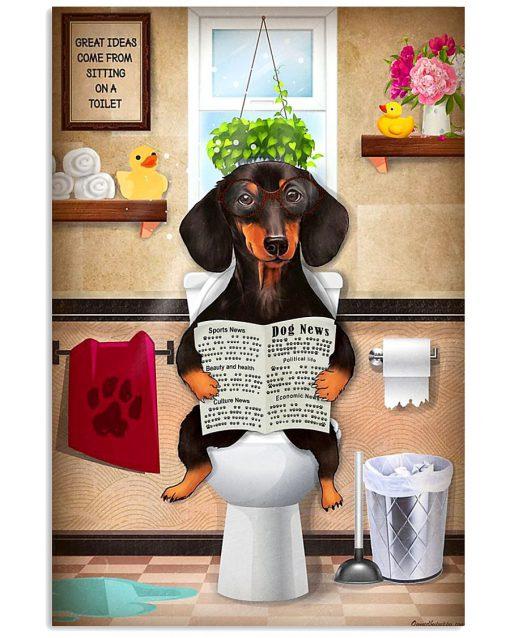 Dachshund Dog Sitting On Toilet Poster1
