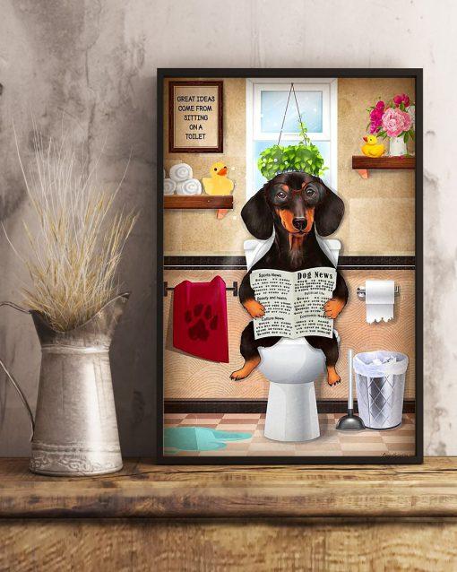 Dachshund Dog Sitting On Toilet Poster2