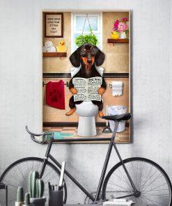 Dachshund Dog Sitting On Toilet Poster3