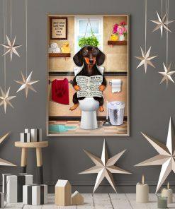 Dachshund Dog Sitting On Toilet Poster4