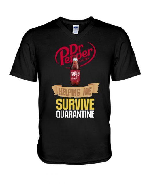 Dr Pepper Helping me survive quarantine v-neck