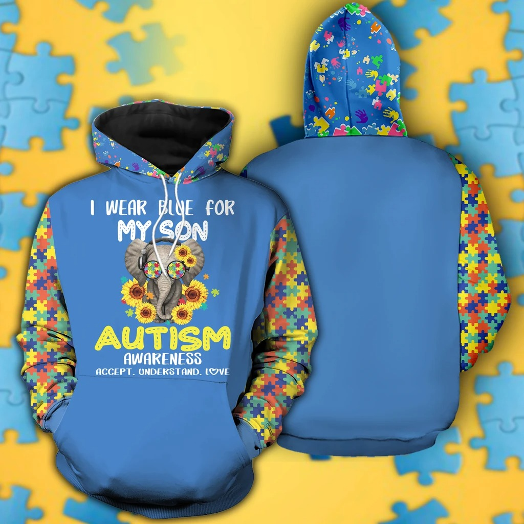 I wear blue for my son Autism Awareness 3D Hoodie 1