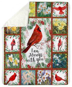 I'M Always With You Cardinals Flowers Fleece Blanket 2