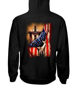 Jesus Christ Proud American Flag Hoodie