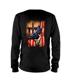 Jesus Christ Proud American Flag Long sleeve