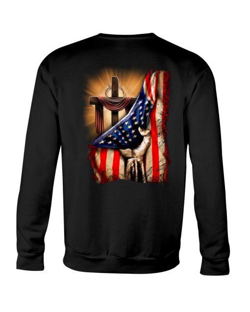 Jesus Christ Proud American Flag Sweatshirt