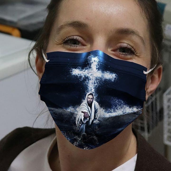 Jesus Saved My Life face mask