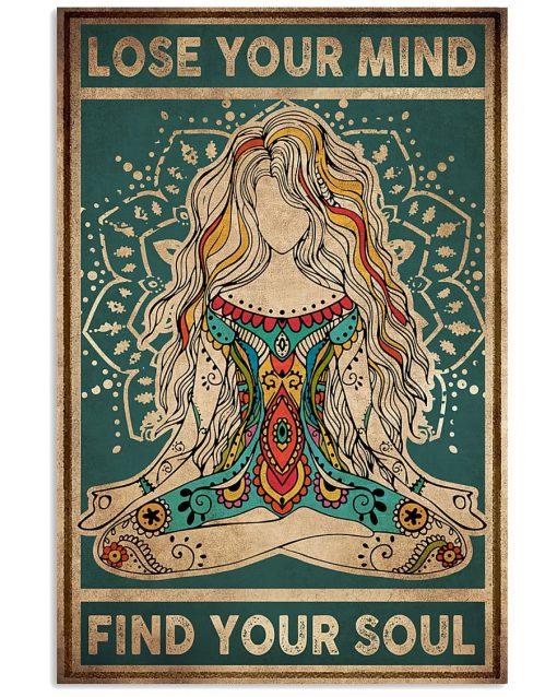 Lose you mind Find Your soul Yoga vintage poster 2