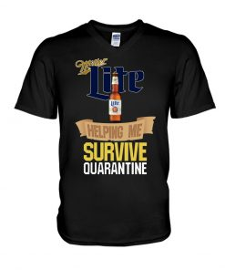 Miller Lite Helping me survive quarantine v-neck