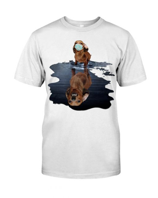Monster dachshund dog lake reflection T-shirt