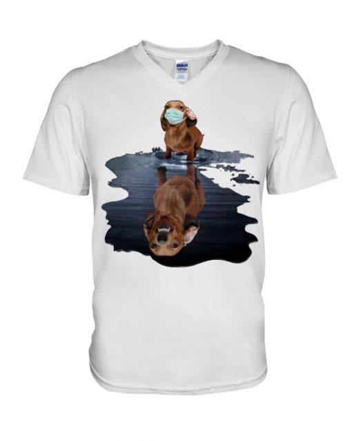 Monster dachshund dog lake reflection V-neck