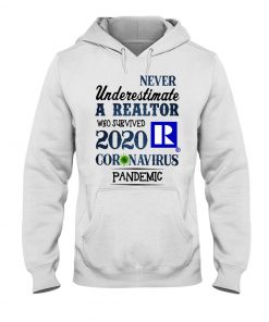 Never underestimate a realtor who survived 2020 coronavirus pandemic hoodie