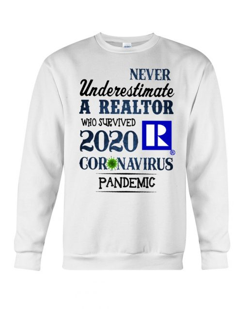 Never underestimate a realtor who survived 2020 coronavirus pandemic sweatshirt