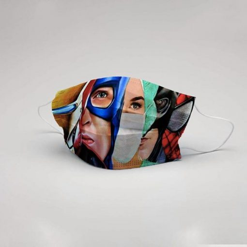 Nurse and Marvel Superheroes 3D cloth face mask 0