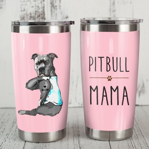 Pitbull Mom tattoo tumbler
