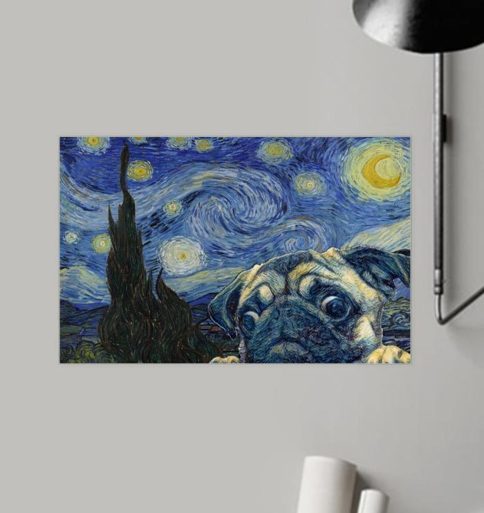 3D Pug Dog Van Gogh - Starry Night Poster