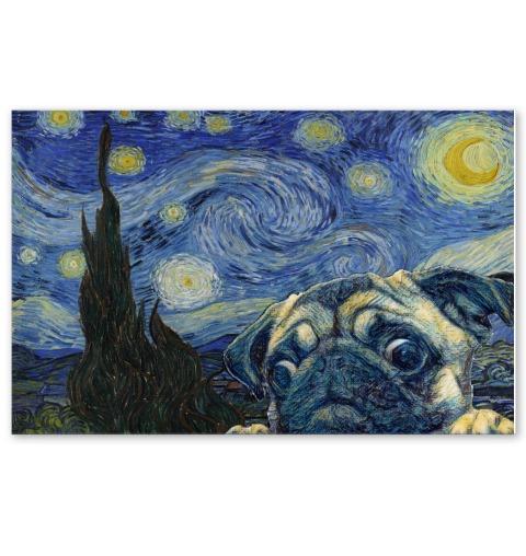 Beautiful Pug Dog Van Gogh - Starry Night Poster