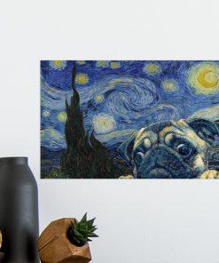 Pug Dog Van Gogh - Starry Night Poster3