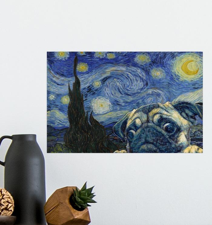 Best Gift Pug Dog Van Gogh - Starry Night Poster