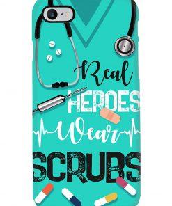 Real heroes wear scrubs phone case 7